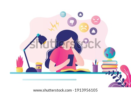 Female character sitting with mobile phone at workplace. Bullying and humiliation on social media. Girl gets negative comments on Internet. Cyber bullying concept. Trendy flat vector illustration Foto stock ©