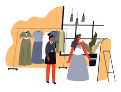 Female character trying dress and looking in mirror. Consultant working in boutique advising and helping with outfit. Fashion and style, wearing clothes and buying clothes. Vector in flat style