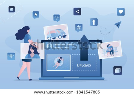 Female character uploads photos to internet. Social networking concept. Laptop with social media page on screen. Photo sharing, new content and internet forum. Girl holds image. Vector illustration