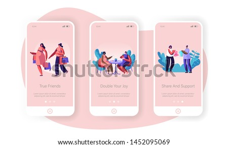 Female Characters Happy Pregnancy Mobile App Page Onboard Screen Set, Pregnant Women Meeting in Cafe, Shopping, Buying Baby Clothes, Concept for Website or Web Page, Cartoon Flat Vector Illustration