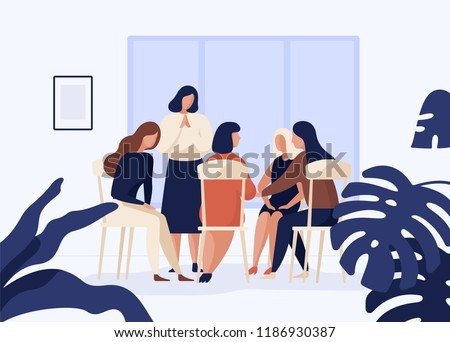 Female characters sitting on chairs in circle and talking to each other. Group therapy, psychotherapeutic meeting or psychological aid for women. Colorful vector illustration in modern flat style.