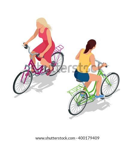 female city cyclist riding on a
