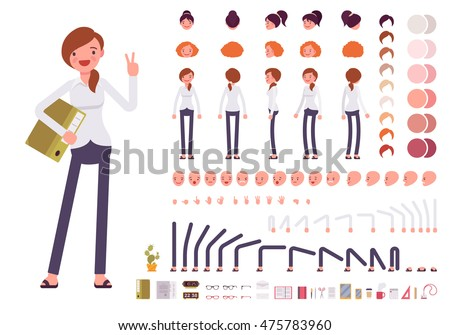 Female clerk character creation set. Full length, different views, emotions, gestures, isolated against white background. Build your own design. Cartoon flat-style infographic illustration