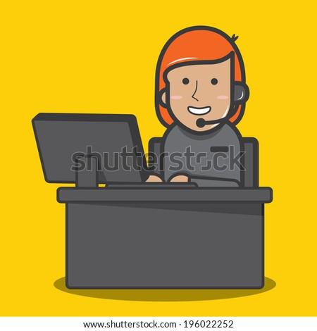 Female customer support operator - vector