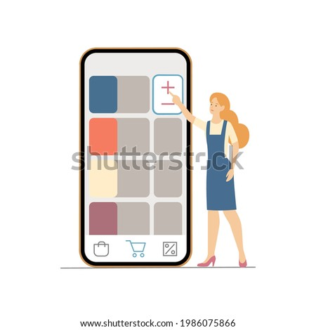 Female customers tap add to order button in website or mobile application. Digital ecommerce purchaising and payment vector concept Photo stock ©