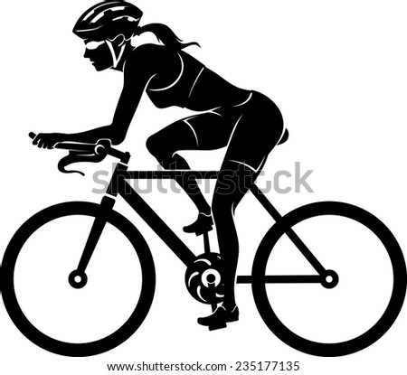female cyclist silhouette