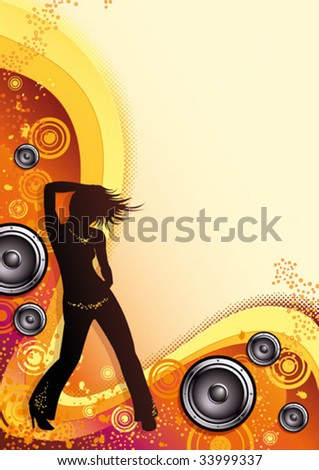 Female dancer in front of an abstract summer backround in warm colours, with speaker elements.