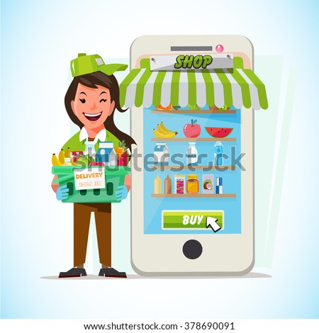 female delivering online with