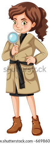 Female detective with magnifying glass illustration