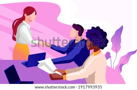Female diverse businesspeople sit at desk in office talk brainstorm discuss business ideas at meeting, happy woman recruiter speak interview work candidate at briefing, employment concept