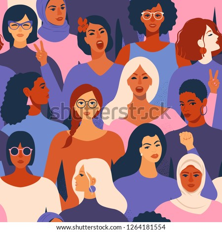 Female diverse faces of different ethnicity seamless pattern. Women empowerment movement pattern. International women's day graphic in vector.