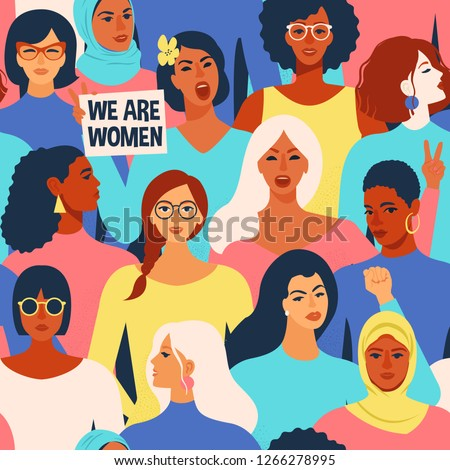 Female diverse faces of different ethnicity seamless pattern. Women empowerment movement pattern. International women´s day graphic in vector.