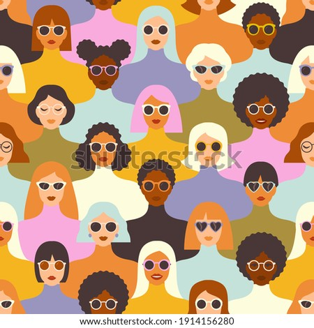 Female diverse faces of different ethnicity seamless pattern. Women empowerment movement pattern. International women's day graphic in vector. Mid Century Modern Art.