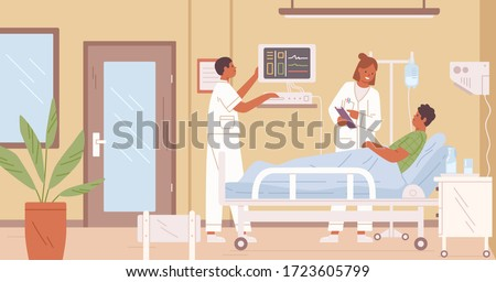 Female doctor and nurse visit male patient in intensive therapy room at hospital vector flat illustration. Cartoon medical personnel working at clinic interior. Sick man with dropper lying on bed
