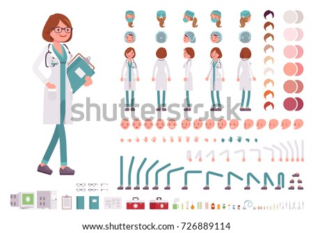 Female doctor character creation set. Full length, different views, emotions, gestures. Build your own design. Cartoon flat-style infographic illustration. Healthcare and professional medicine concept