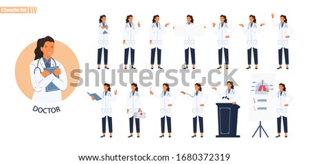 Female doctor character set. Different poses and emotions. Vector illustration