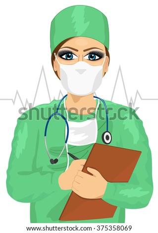 female doctor or nurse in face