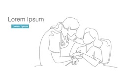 female doctor talk to patient hand holding. one continuous line drawing vector illustration on white background