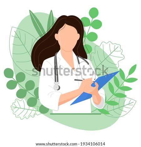Female doctor with blue tablet, image on green background. Medicinal herbs. Alternative medicine. Homeopathy. Medicine. Medical worker, medical assistant