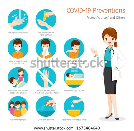Female Doctor With Coronavirus Disease, Covid-19 Preventions, Steps to Protection Yourself And Others, Healthcare, Covid, Respiratory, Safety, Protection, Outbreak, Pathogen