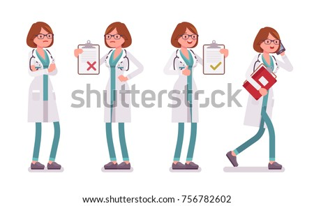 Female doctor. Woman in hospital uniform with patient card, busy talking on phone, standing akimbo at service. Vector flat style cartoon illustration isolated on white background