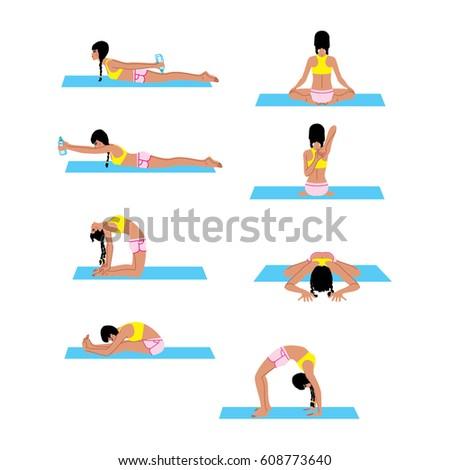 female doing back stretching