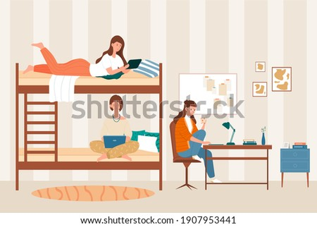 Female dormitory roommates live together. College students, friends on bunk bed. Concept of university lifestyle, friends sharing room. Flat cartoon vector illustration Сток-фото ©