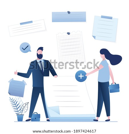 Female employee adds new note. Business team planning office day. Scheduling, meeting reminders. Blank sheets for notes. Happy businessman holds stickers. Teamwork. Trendy style vector illustration Photo stock ©