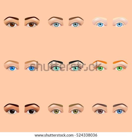 female eyes and brows icons