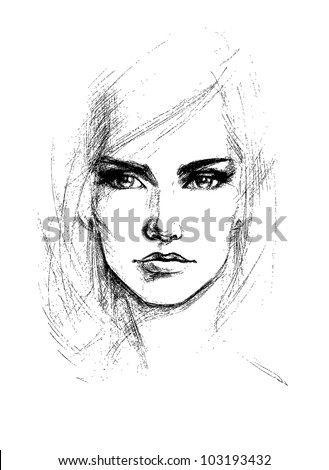 Female face, vector illustration