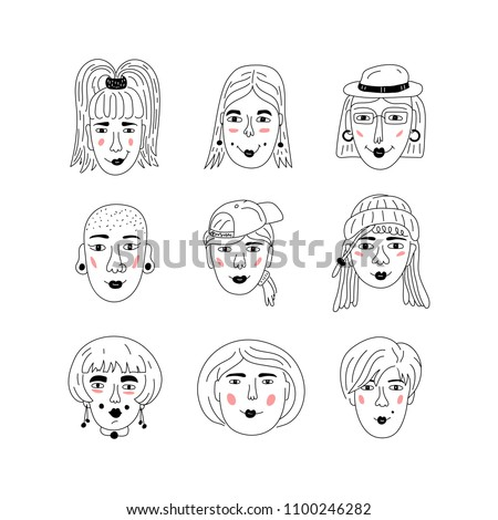 Female faces icons, Informal girls, Punk rock women Feminists. Cute Funny hand-drawn characters, Women's faces, Vector art illustration Foto stock ©