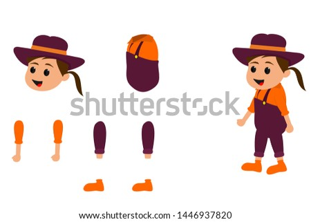 Female farmer Character 2D Game - Vector