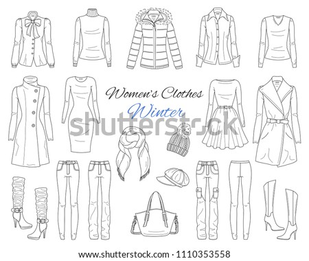 Female fashion set. Women's clothes collection. Winter outfit: down coat with fur hood, wool coat, dress, jeans pants, leggings, sweater, hat, scarf and high heel boots, hand drawn vector illustration Foto d'archivio ©