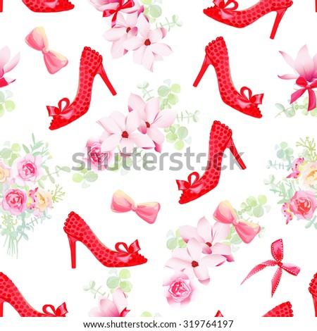 Female fashion shoes with flower bouquets seamless vector pattern. Beautiful romantic print with red style shoes, flower garlands, bows.