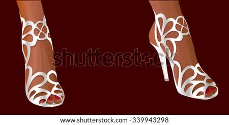 female feet in fishnet white