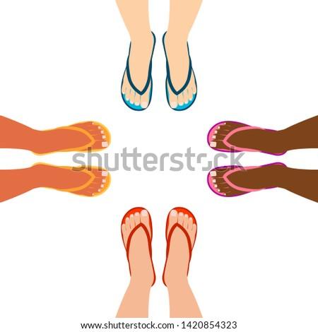 female feet in summer sandals
