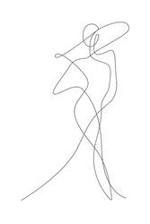 Female figure continuous line art vector