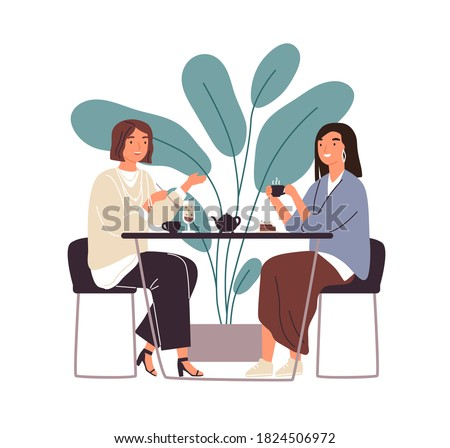 Female friends drinking tea together at cafe vector flat illustration. Smiling woman gossiping spending time at cafeteria isolated. People enjoying coffee break in public place sitting at table