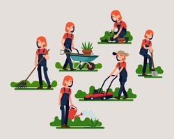 Female gardener poses and activities bundle featuring mowing, digging, watering, planting and more. Cool flat vector character design on garden maintenance. Young adult woman working in the garden