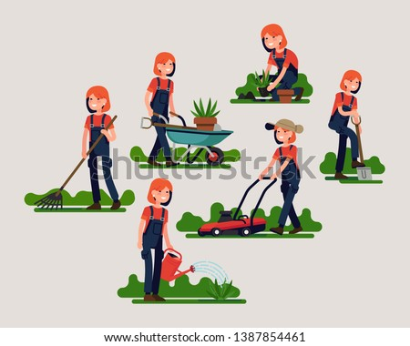 female gardener poses and