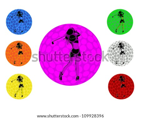 Female golfer taking a swing within a golf ball with 7 color variants