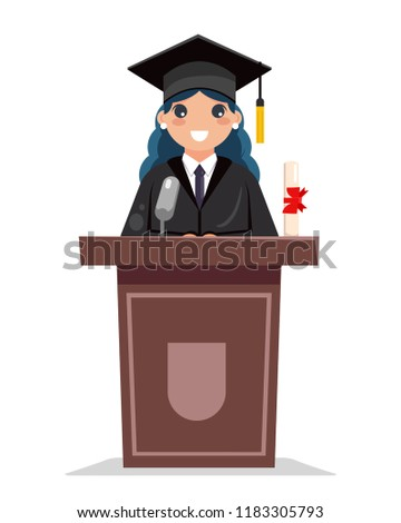 Female graduate solemn tribune speech flat character design vector illustration