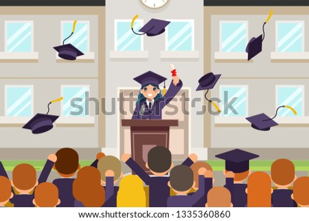 Female graduate tribune speech crowd students celebrate rejoice flying graduation hats solemn flat character design vector illustration