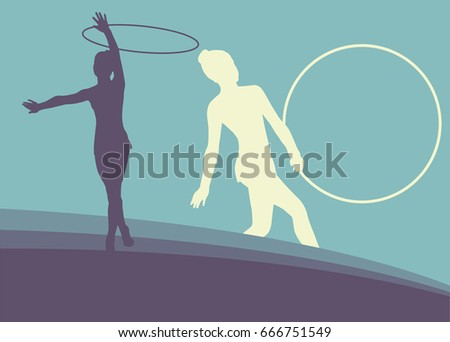 Female gymnast with hoop vector abstract background