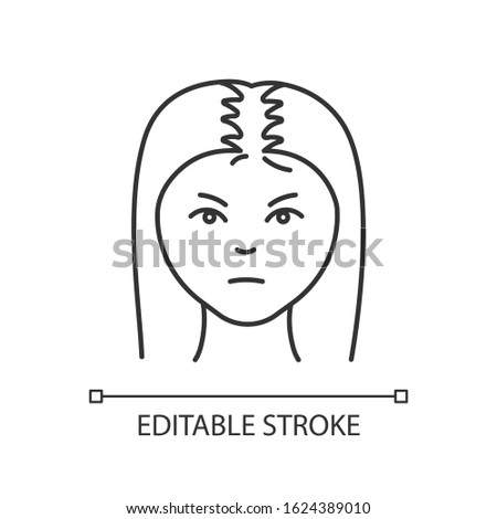 Female hair pixel perfect linear icon. Woman with alopecia. Hairloss problem. Thinning hairline. Thin line customizable illustration. Contour symbol. Vector isolated outline drawing. Editable stroke