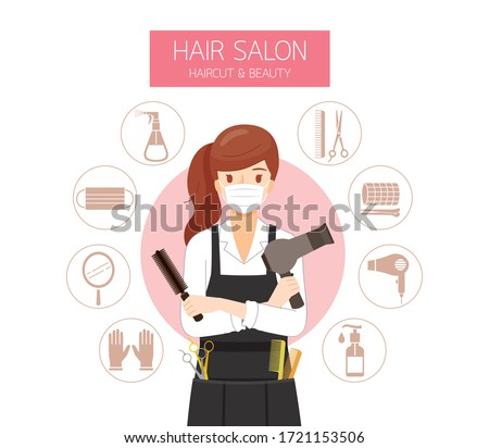 Female Hairdresser Wearing Surgical Mask With Hair Salon Equipments Icons, New Normal, Beauty, Shop, Healthcare
