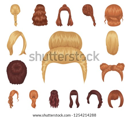female hairstyle cartoon icons