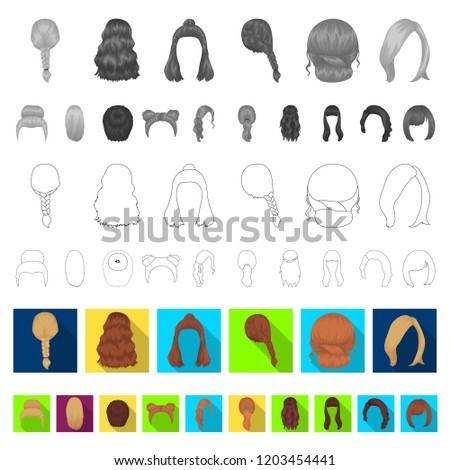 female hairstyle flat icons in