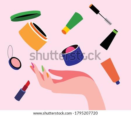 Female hand hold Makeup, cosmetic beauty products, lipstick, powder, blush, eye liner, lip balm, fairness cream. Vector illustration.   Сток-фото ©