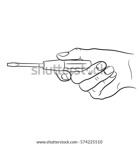 Female hand holding a screwdriver of monochrome vector illustration.